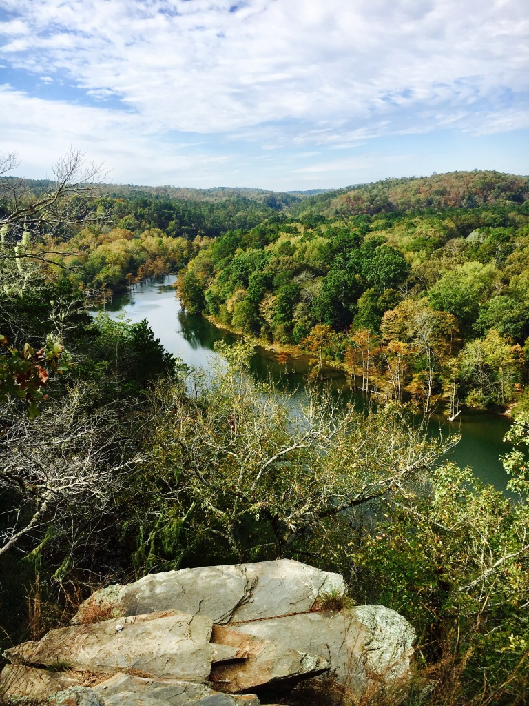 Winding river from a cliff overlook in the fall